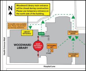 Construction on Woodward Library entrance